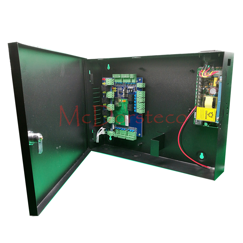 Enthusiastic Two Doors Access Control Panel metal Box High Quality Wiegand Tcp/ip Access Control System With Alarm Panel To Clear Out Annoyance And Quench Thirst 12v5a Power Supply