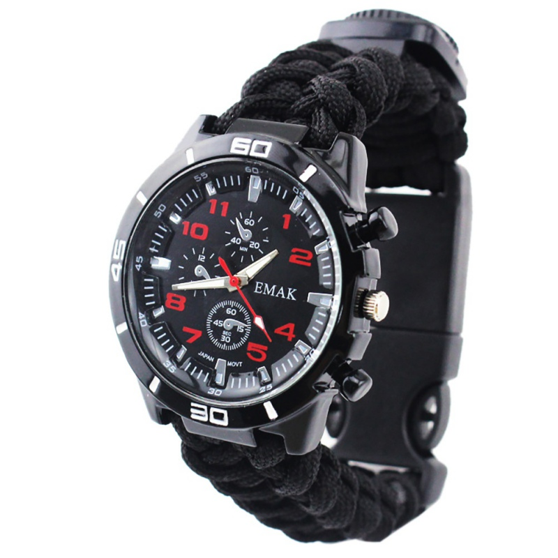 Waterproof Wristwatch Rope-Cutter Compass Paracord Survival Multi-Functional Whistle