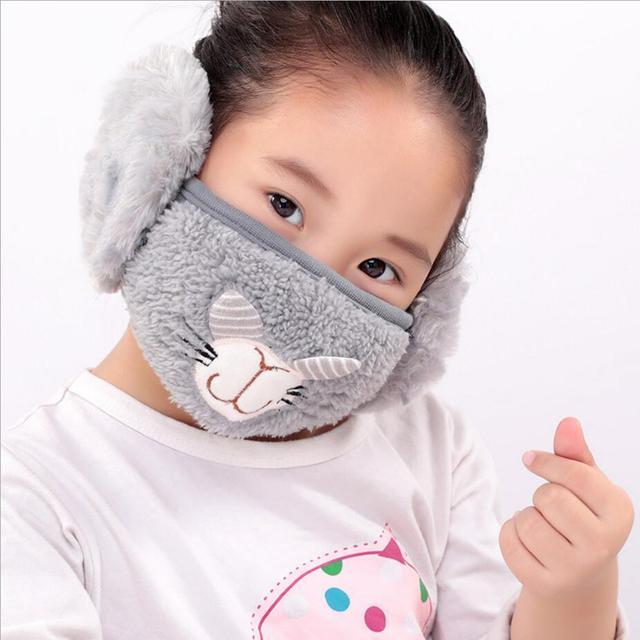 Cute rabbit Ear protective kids mouth mask Windproof earmuff anti dust winter masks Children Anti Haze Flu cotton Face masks 1