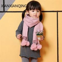 Фотография XIANXIANQING Rabbit Fur Tassle Scarf Child Pure Warm Fake Cashmere Collar Scarf Dual-purpose Childen Scarves Girl And Boy AL2150