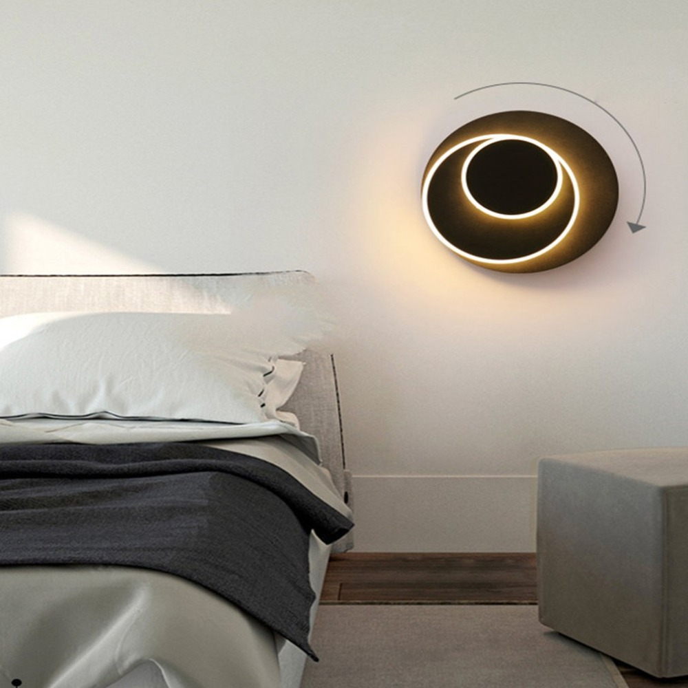 5W LED Acrylic Wall Fixture Light Adjustable Chasing The Moon Lamp Black Shell