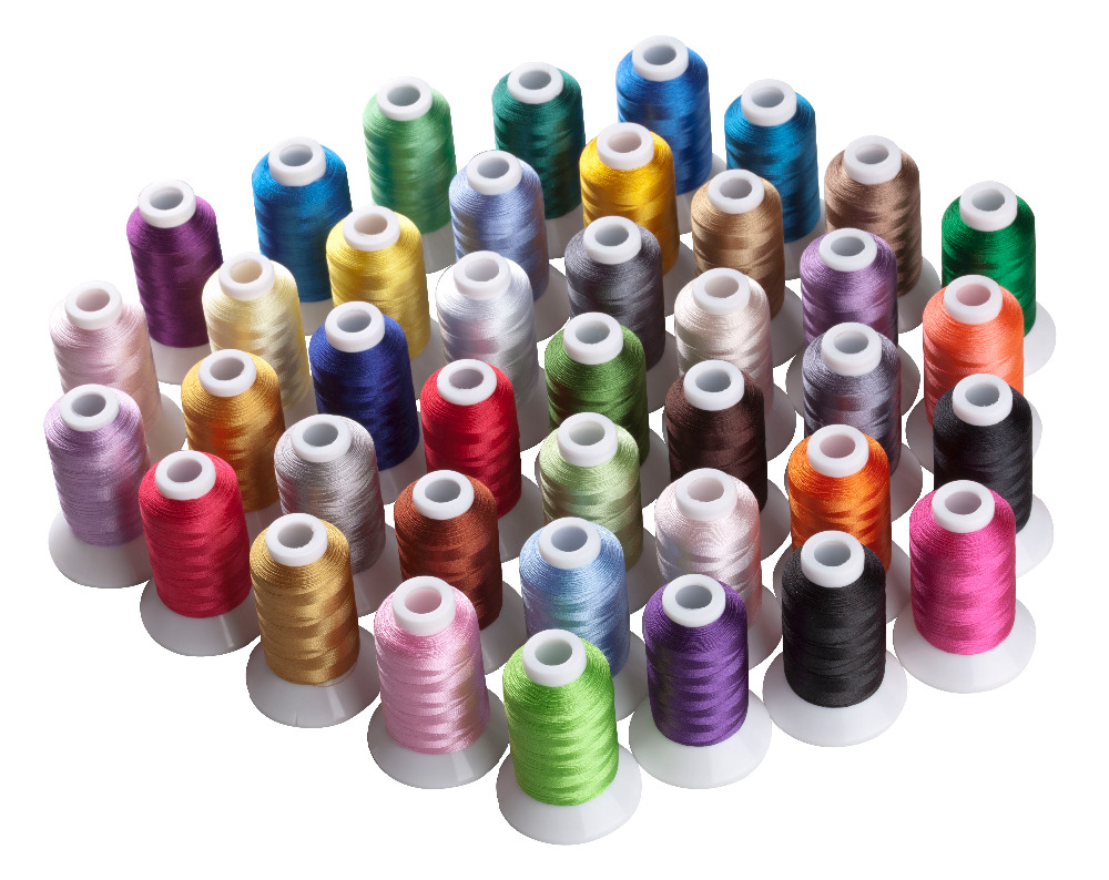 Simthread 40 Brother Colors Polyester Embroidery Machine Thread Plus 5pcs Size A Plastic Bobbins