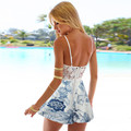 Fashion Sexy Summer Women V Neck Backless body femme Strap Floral Lace Jumpsuit Rompers Comfortable Playsuit