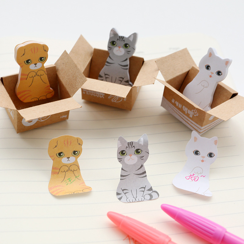 3D Kawaii Cat Dog Box Stickers Cute Cartoon Korean Stationery Sticky Notes Office School Supplies Memo Pad Scrapbooking