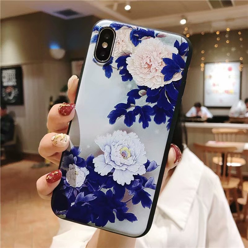 KIPX1051_4_JONSNOW 3D Emboss Flowers Soft Case for iPhone XS XR Cases for iPhone 6S 7P 8 Plus XS Max Phone Cover