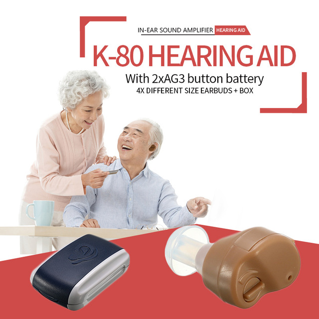 K 80 Mini Adjustable Dightal Tone In ear Best Invisible Sound Enhancement Deaf Volume Amplifier Hearing Aid Aids Ear Assistance