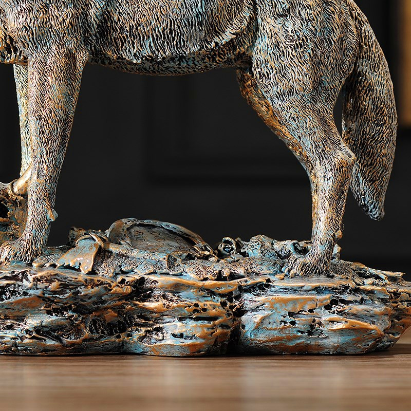 Simulation Animal Dog Bust Wolf Model Statue Resin Craftwork American Home  Collection Decorations Art Material L2567