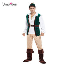 Umorden Purim Carnival Halloween Costumes Adult Man Green Forest Peter Pan Costume Men Robin Hood Prince Cosplay
