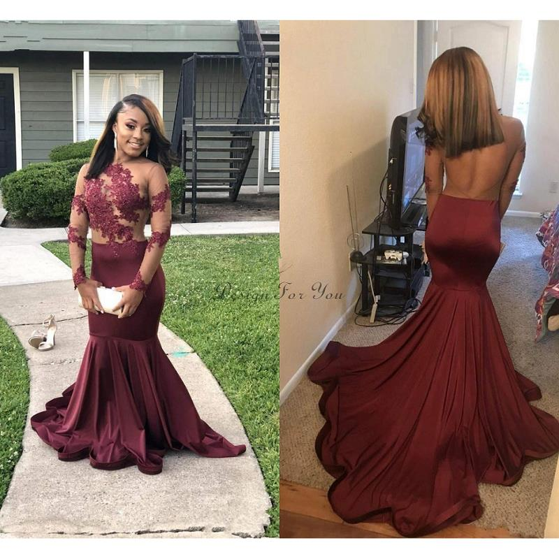 Arabic Burgundy Mermaid   Evening     Dresses   Long 2019 robe de soiree Long Sleeve Prom Gowns Black Girl Women Formal Party   Dress