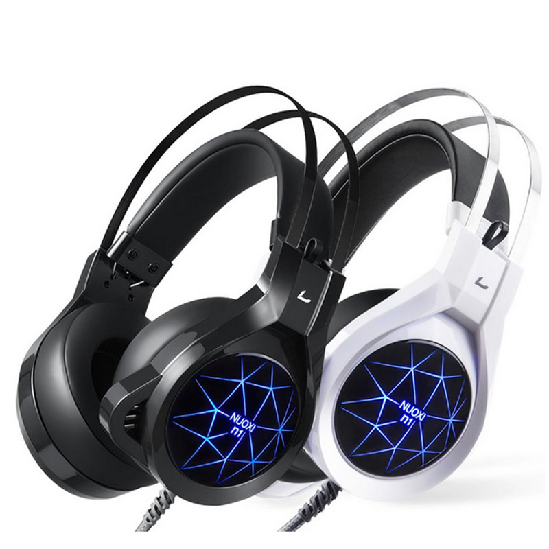 Gaming headset with mic for PC headphones Luminous 7 color Durable headset Big ear Cap comfortable stereo 50mm driver earfun brand big headphones with mic