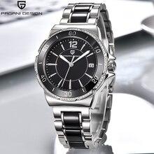 Pagani marka bayan elbise kuvars saatler Relogio Feminino elmas muhteşem Analog ekran seramik siyah kadınlar için kol saati