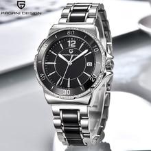 Pagani marka sukienka damska zegarki kwarcowe Relogio Feminino diament wspaniały wyświetlacz analogowy ceramiczny czarny zegarek dla kobiet