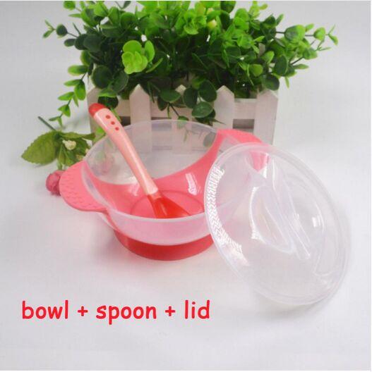 3 шт./компл. детская обучающая посуда с присоской детский спасательный набор посуды для оказания помощи чаша Температура зондирования ложка вилка Посуда - Цвет: Pink Dish 3 PC