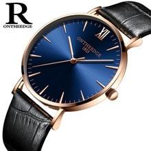 цены ONTHEEDGE Men's Watch Clock Men Business Quartz Steel Wrist Watches 30m Daily Waterproof Mens Watches Top Brand Luxury 6mm dial