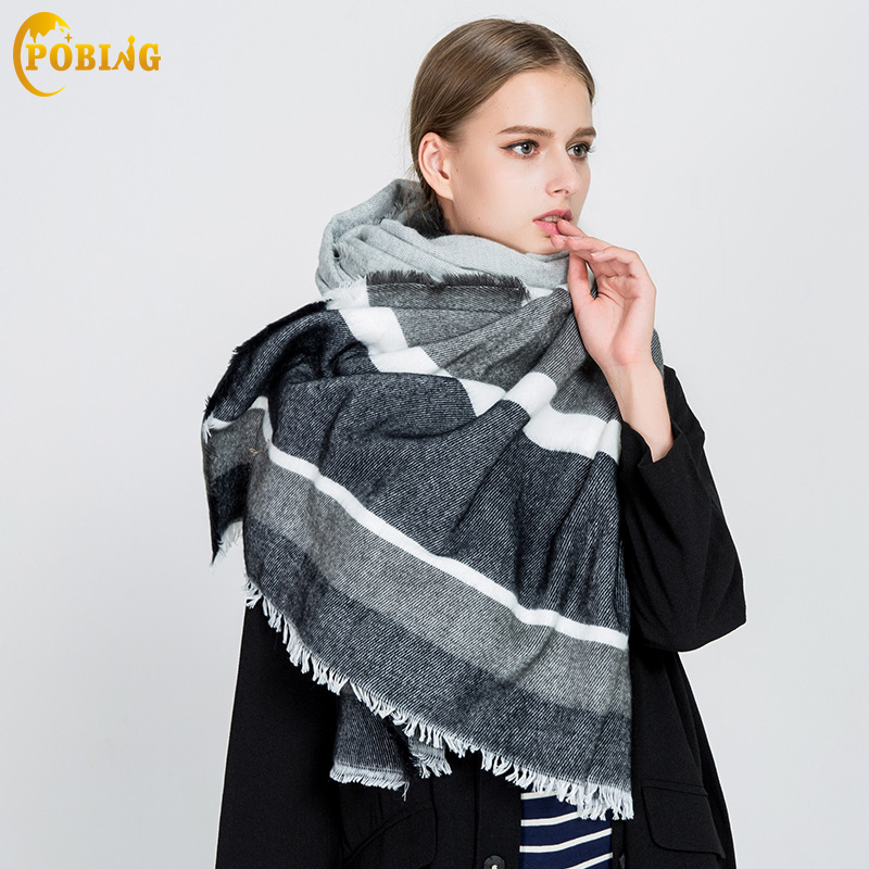 POBING Luxury Brand Winter   Scarf   Women New Design Striped Solid Cashmere   Scarves     Wraps   Female Pashmina Basic Acrylic Shawls