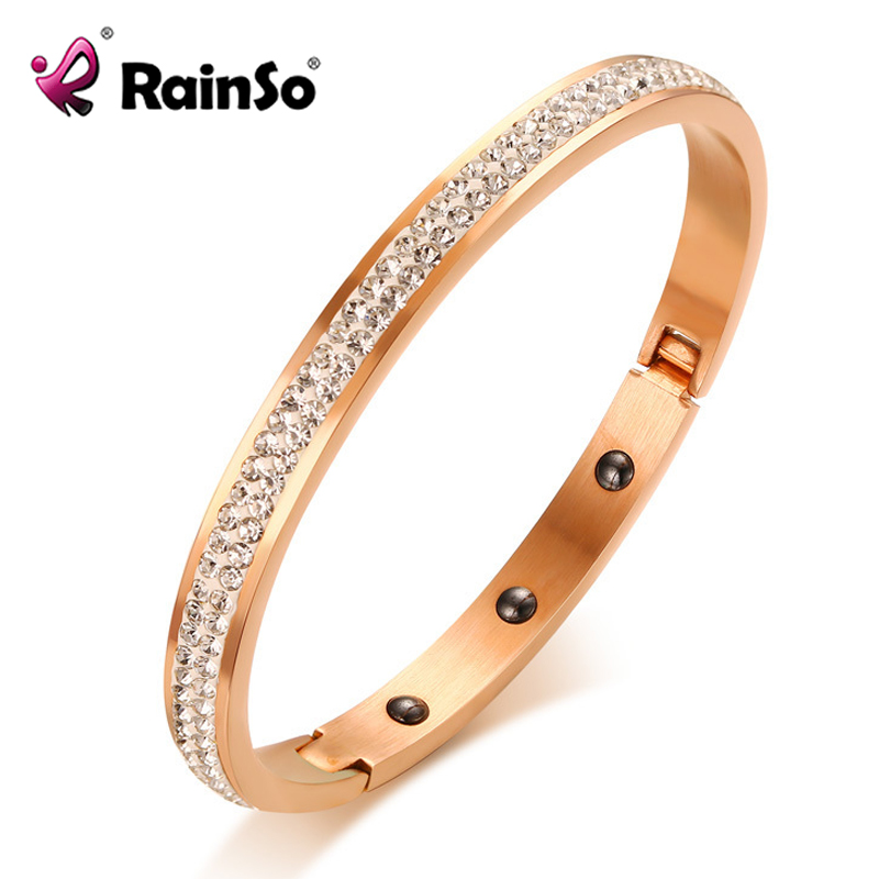 цены на RainSo Hematite Magnetic Bracelet for Women 2 Row Shiny Rhinestone Cuff Bangle Stainless Steel Fashion Elegant Female Jewelry