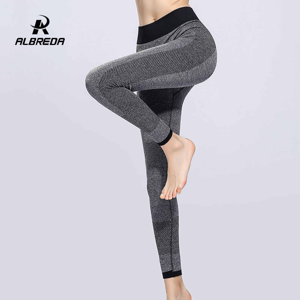 ALBREDA Women Elastic High Waist Yoga Pants Fitness Bodybuilding Lady Yoga Sport Leggings Running Trousers Quick dry Tights pant