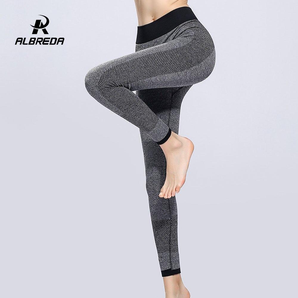 ALBREDA Femmes Élastique Taille Haute Yoga Pantalon Fitness Bodybuilding Lady Yoga Sport Leggings Pantalon de Course À Séchage Rapide Collants pantalon