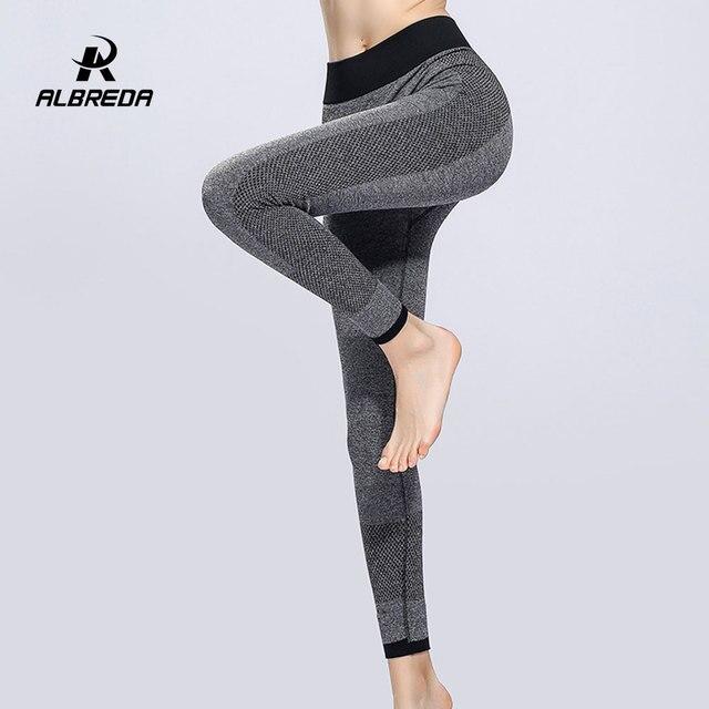 98567ad6ea ALBREDA Women Elastic High Waist Yoga Pants Fitness Bodybuilding Lady Yoga  Sport Leggings Running Trousers Quick dry Tights pant