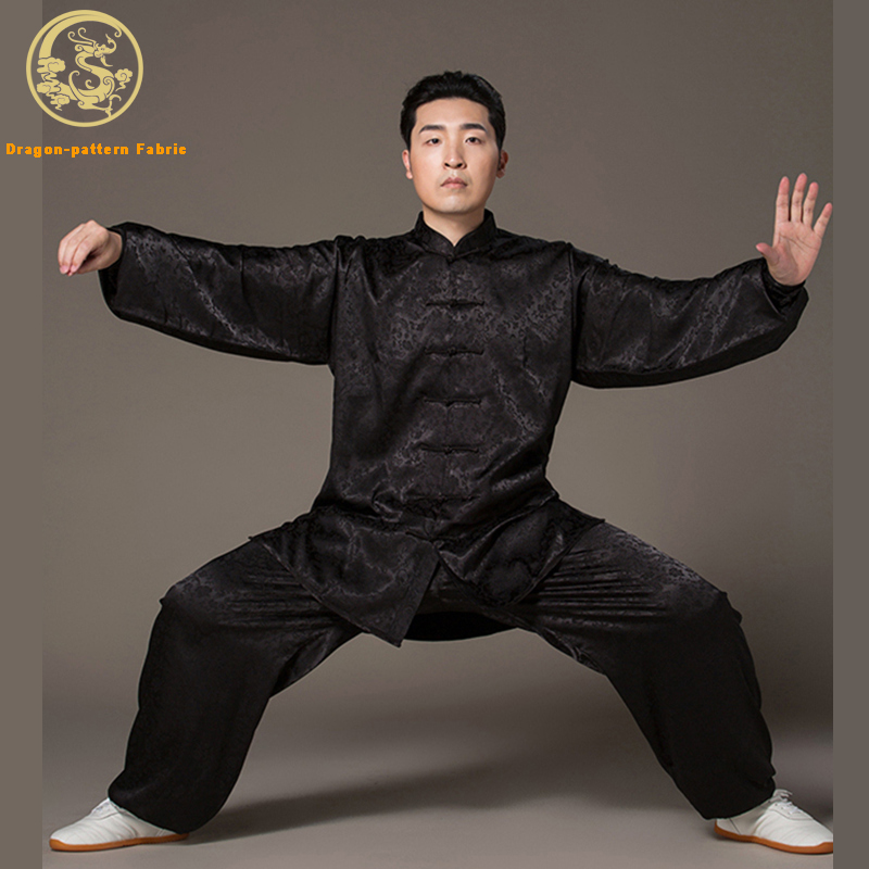 Tai Chi Clothing For Men And Women Dragon Pattern Rayon Fabric Sports Clothes Taijiquan Practice Wushu Clothing Kung Fu Uniform