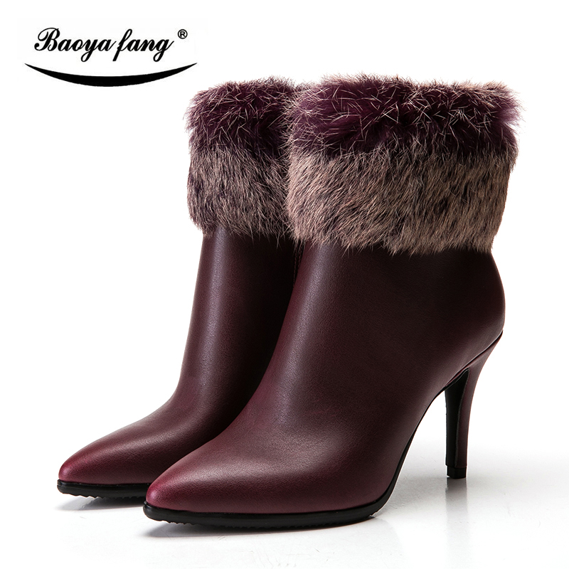 BaoYaFang Woman Winter Boots leather ankle boots for women 9cm High heels pointed toe Womens shoes black/wind red Plush Boots high quality winter autumn ankle boots for woman high heels pointed toe shoes slip on womens short boots black ladies boots