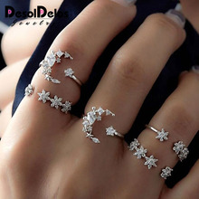 5pcs/Set Brand Silver Color Heart Ring Set Drop of Crystal Adjustable midi anillos anel Rings For Women Anillo Hombre