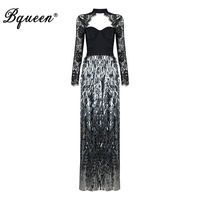 Bqueen 2017 Sexy Strapless LaceAutumn Women Bandage Party Dress Elegant Full Sleeve Floor Length Sequined O
