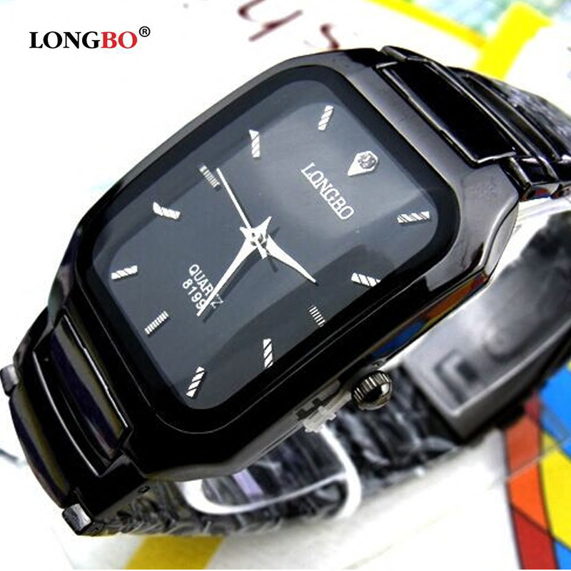 Fashion 2018 Longbo Brand Man Woman Lovers Clocsk Full Black Stainless Steel Quartz Wrist Watch Folding Clasp Gift Dress Watches