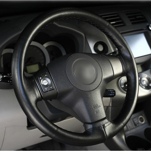 Black Steering Wheel Cover Universal DIY Car PU Leather With Needles and Thread
