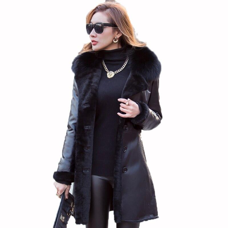 Натуральная кожа куртка Для женщин пуховик овчины зимнее пальто женская одежда 2018 корейской Тонкий Лисий меховой воротник шерстяной подкл...