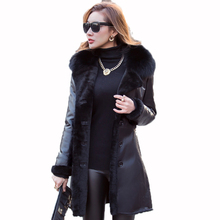 Genuine Leather Jacket Women Down Coat Sheepskin Winter Coat Women Clothes 2018 Korean Slim Fox Fur Collar Wool Lining ZT691
