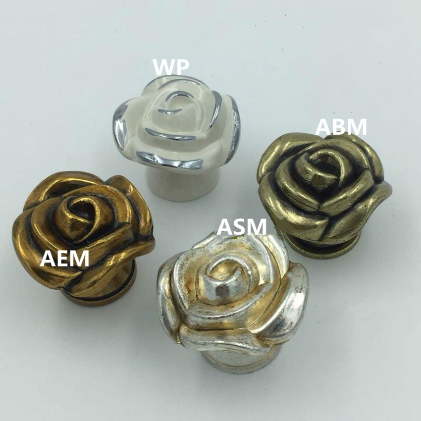 Retro Creative rose furniture knobs antique silver drawer cabinet knobs pulls white gold bronze kitchen cabinet dresser handles antique european furniture handles cabinet handle door drawer circular copper