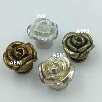 Retro Creative rose furniture knobs antique silver drawer cabinet knobs pulls white gold bronze kitchen cabinet dresser handles