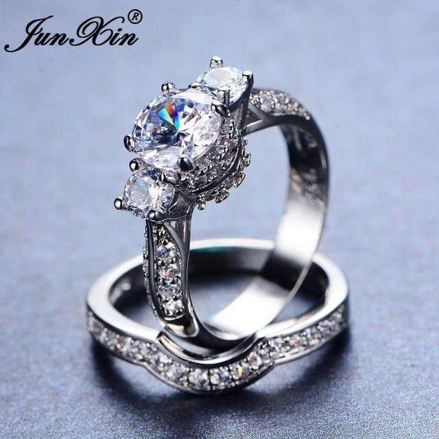 Junxin Luxury Female White Ring Set Bridal Sets High Quality Gold