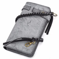 TIDING English Bridle Leather Wallet for Card Coin Cash Genuine Leather Long Purse With Handmade Leather Strap 4183