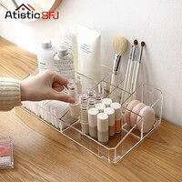Atistic SFJ LARGE Acrylic Makeup Organizer Office Organizer Box Cosmetic Plastic Storage Box Desk Bathroom Cosmetic Storage Case