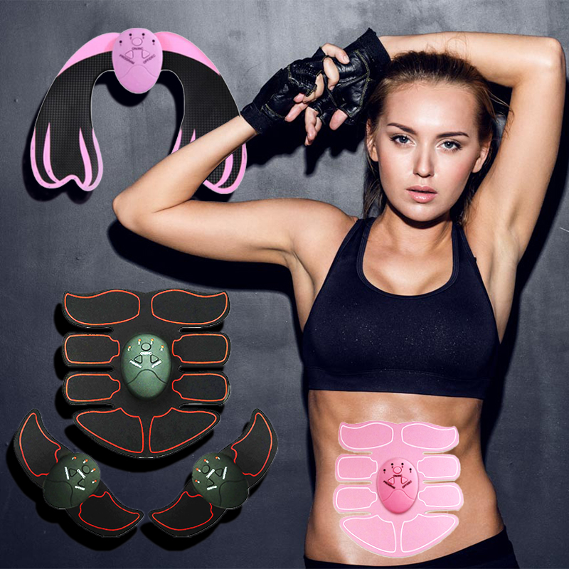 EMS Abdominal Muscle Trainer Body Slimming Massager Shaper Smart ABS Stimulator Sculpting Massager Pad Fitness Gym Arm Stickers