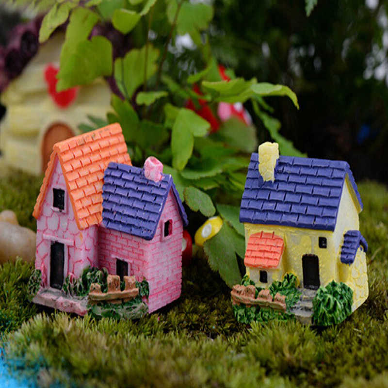 ตกแต่งสวนFairy Garden MiniaturesปราสาทMini Castle Villa Woodland Fairy Figurines Miniature House Terrarium Figurines