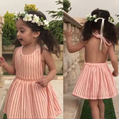 Pudcoco Newborn Baby Girls Romper Dress Hollow Lace Dress Staped Backless Party Dresses Vestidos
