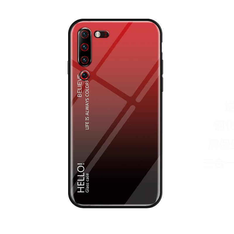 Para Lenovo Z6 pro Caso Gradiente Vidro Temperado Silicone Suave Bumper Case Capa Para Lenovo Z6Pro