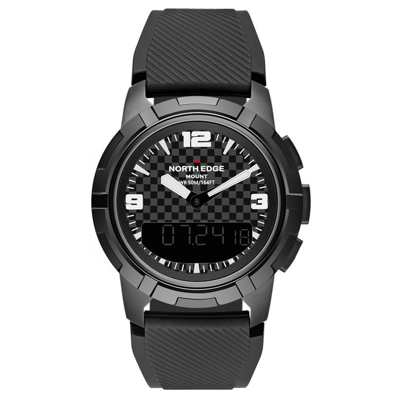 NORTH EDGE Smart mécanique hommes montre en acier inoxydable double affichage horloge étanche Sport montres alpinisme montre-bracelet hommes