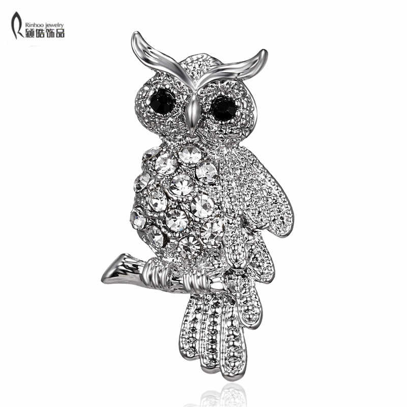 Fashion Bird Owl Crystal Rhinestones Brooches Antique Brooch Pins for Women Wedding Bride Jewelry For Women