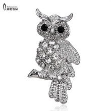 Fashion Bird Owl Crystal Rhinestones Brooches Antique Brooch Pins for Women Wedding Bride Jewelry For