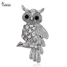 Fashion Bird Owl Crystal Rhinestones Brooches Antique Brooch Pins for Women Wedding Bride Jewelry For Women недорого