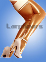 Handmade gold with white latex rubber stockings plus size custom made