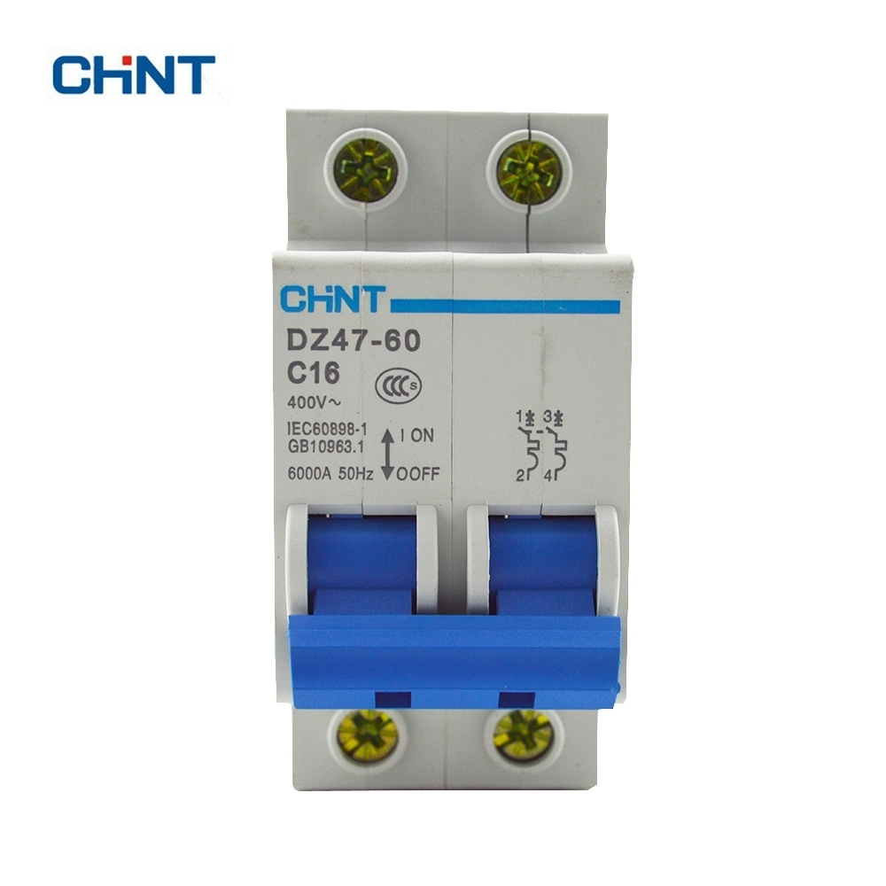 CHINT DZ47-60 AC230/400V 2P 16A Rated Current 2 Pole Miniature Circuit Breaker C16
