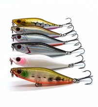 6 colors 7cm/2.76in 7.5g/0.26oz Fishing Lure Minnow Hard Bait with 2 Fishing Hooks Fishing Tackle Lure 3D Eyes