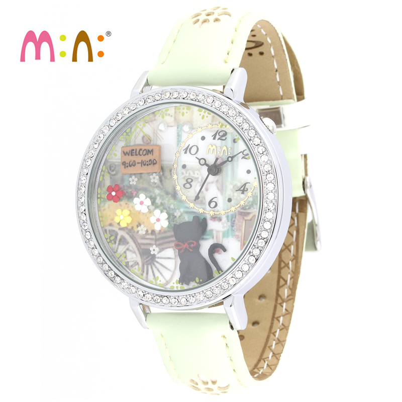 Reloj Mujer M:N: Women Watches Waterproof Ladies Handmade 3D Cat Quartz Wrist Watch Fashion Woman Clock Saat Relogio Feminino casima women watches waterproof fashion ladies leather rhinestone gold quartz wrist watch clock woman 2018 saat relogio feminino