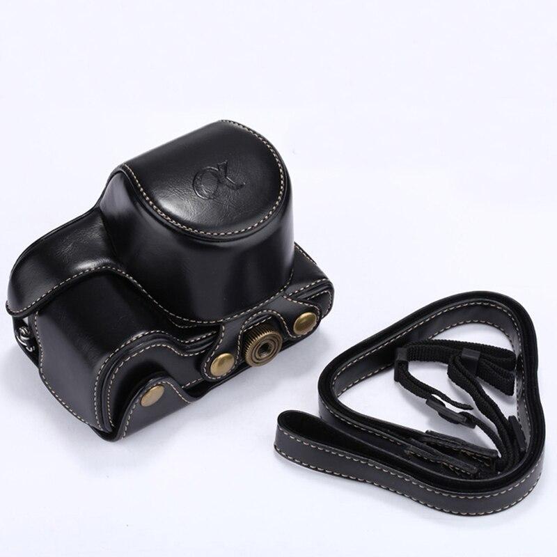 Cubierta de cuero de la caja de la cámara para Sony A6000 NEX6 NEX-6 16-50mm lente con correa