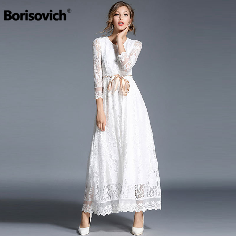 e540717df4c Borisovich Luxury White Lace Women Long Dress New 2018 Spring Fashion  England Style Elegant Ladies Evening Party Dresses M068-in Dresses from  Women s ...